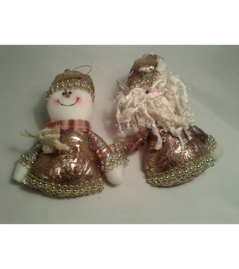 Textil hóember-mikulás arany ruhában