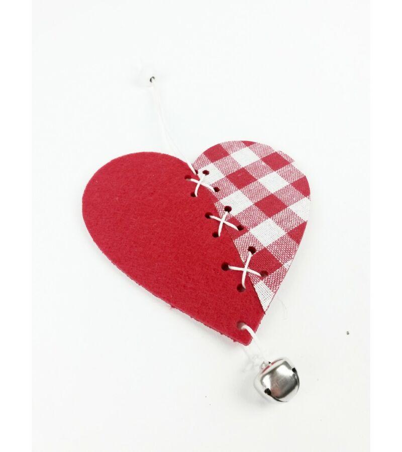 Piros kockás filc függelék - Szív