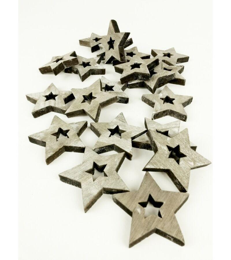 Fa dekor lyukas csillag*20 - Szürke