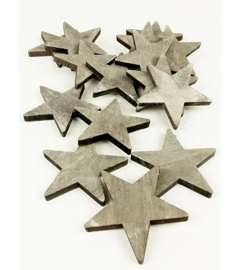 Fa dekor csillag - Szürke