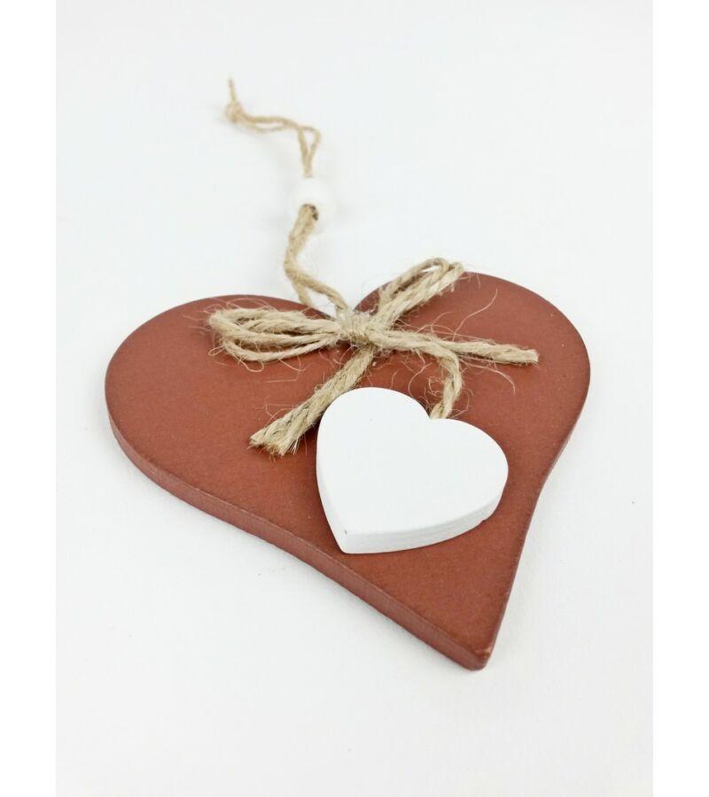 Fa szív zsinór masnival - Barna