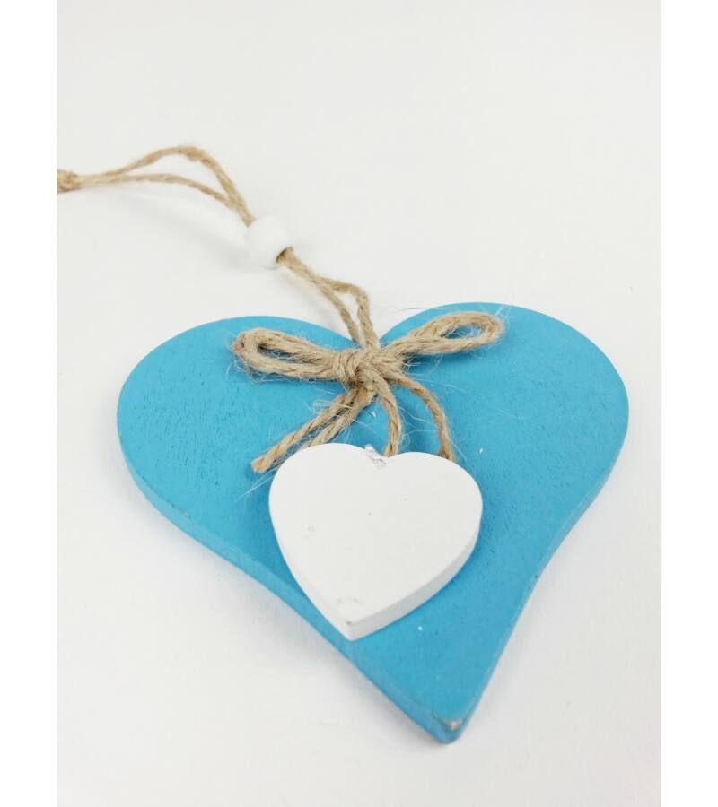Fa szív zsinór masnival - Világos Kék