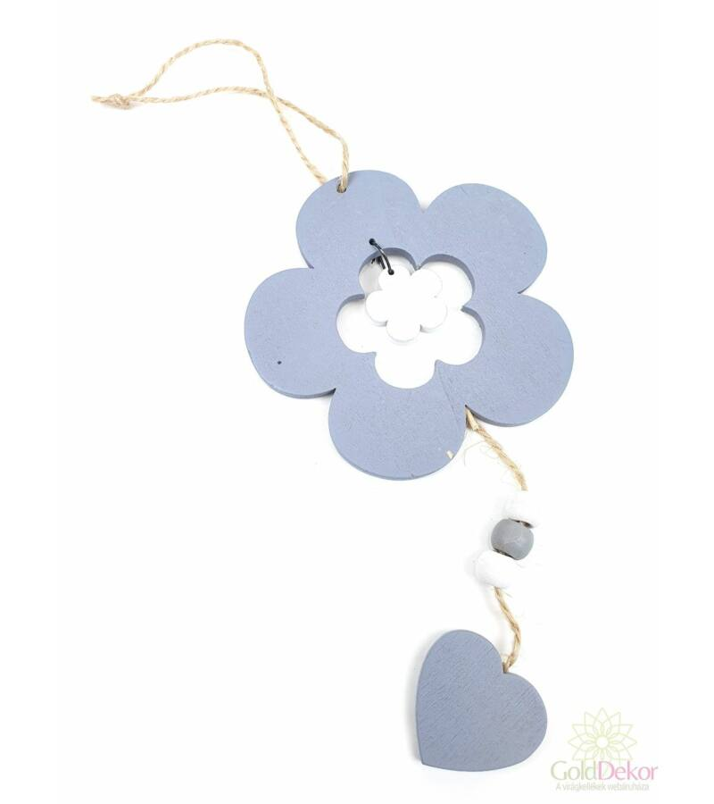 Akasztós fa virág szívvel - Szürke