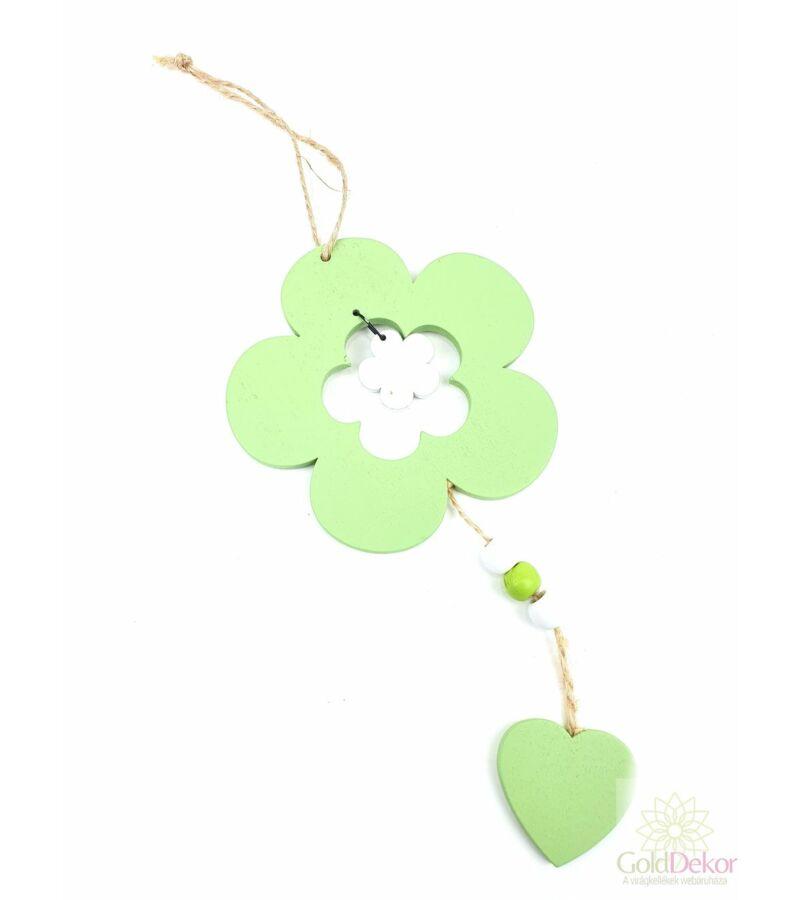Akasztós fa virág szívvel - Zöld