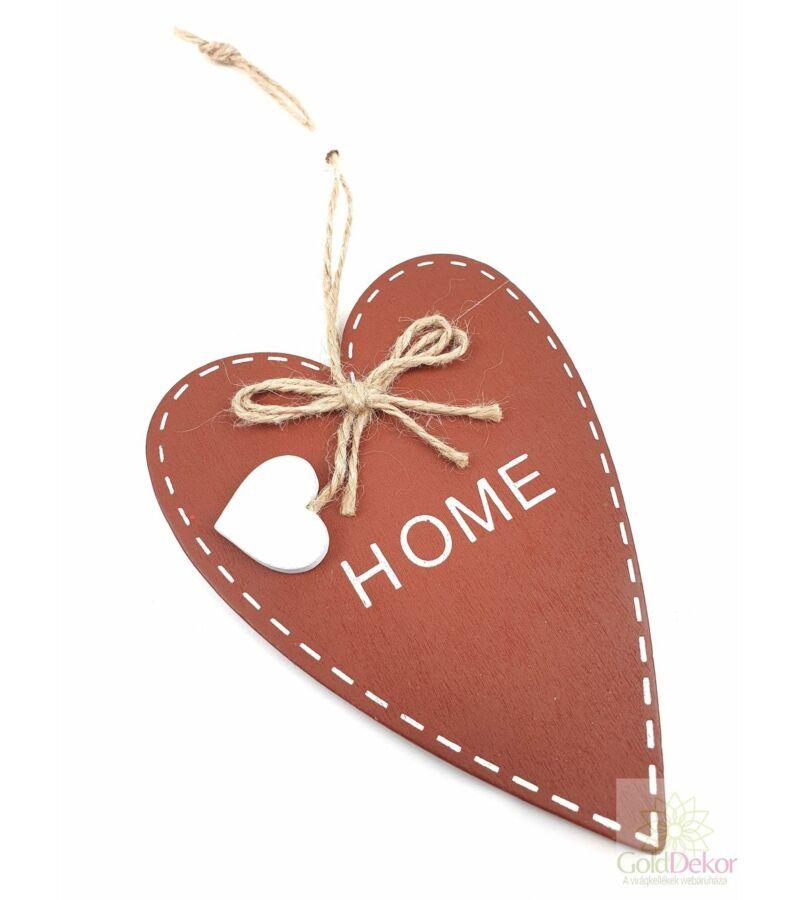 """Fa szív színes """"Home"""" - Barna"""