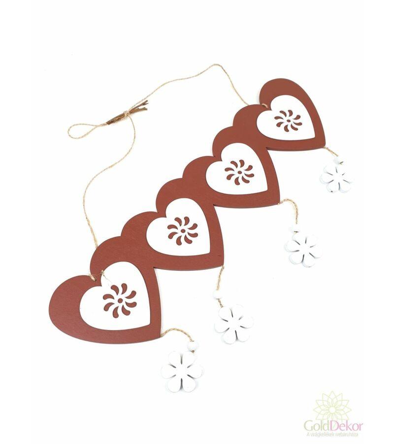 Akasztós virágos szív tábla - Barna