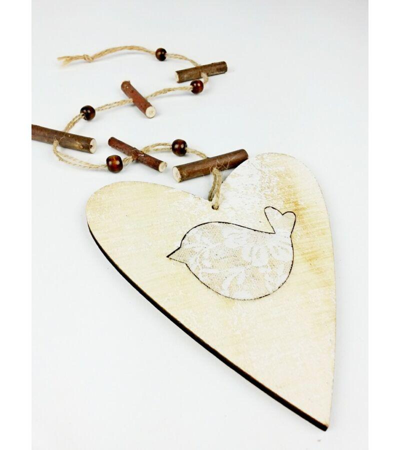 Fa szív girland madárral - Világos Barna