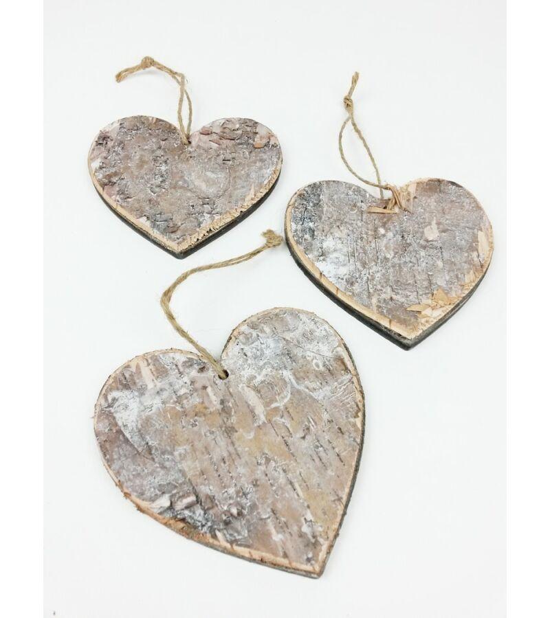 Akasztós nyírfa szív 10 cm*3