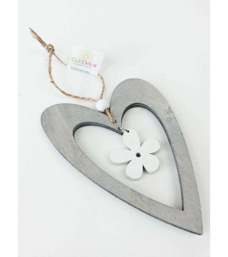 Akasztós fa szív virággal - Szürke