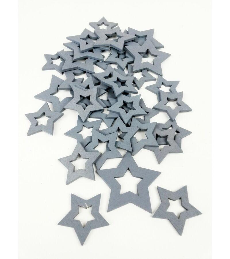 Fa dekor lyukas csillag mix - Szürke