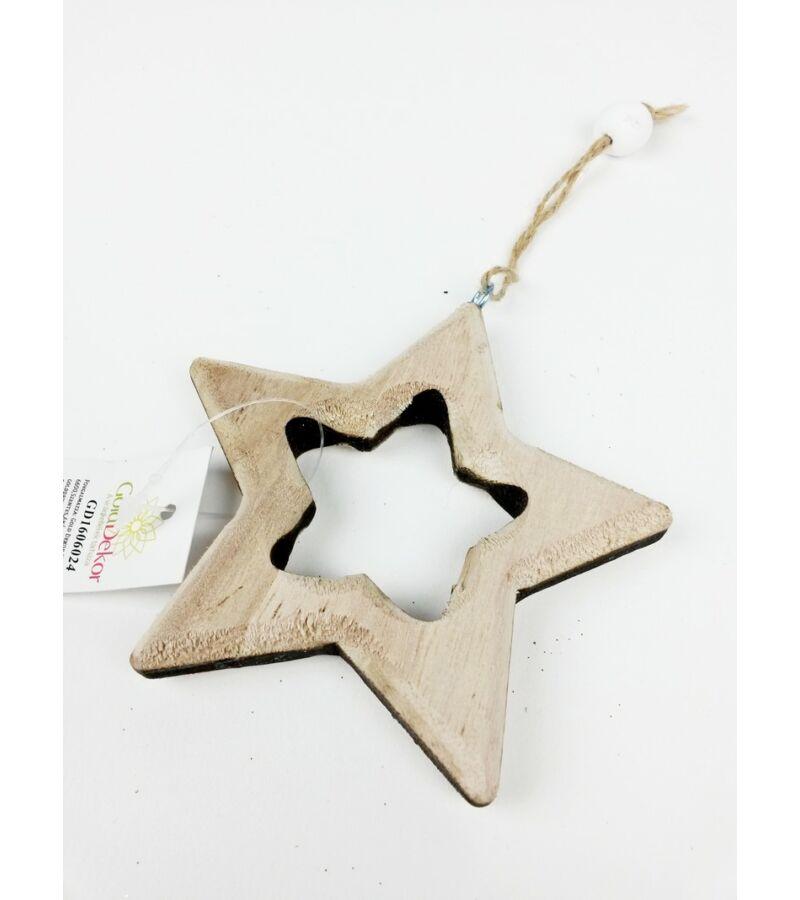 Faragott akasztós natúr dísz - Csillag