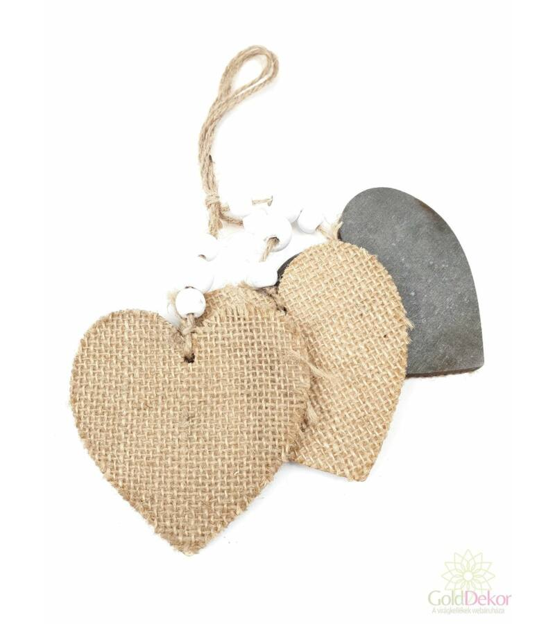 Zsák borítású zsinóros fa szív