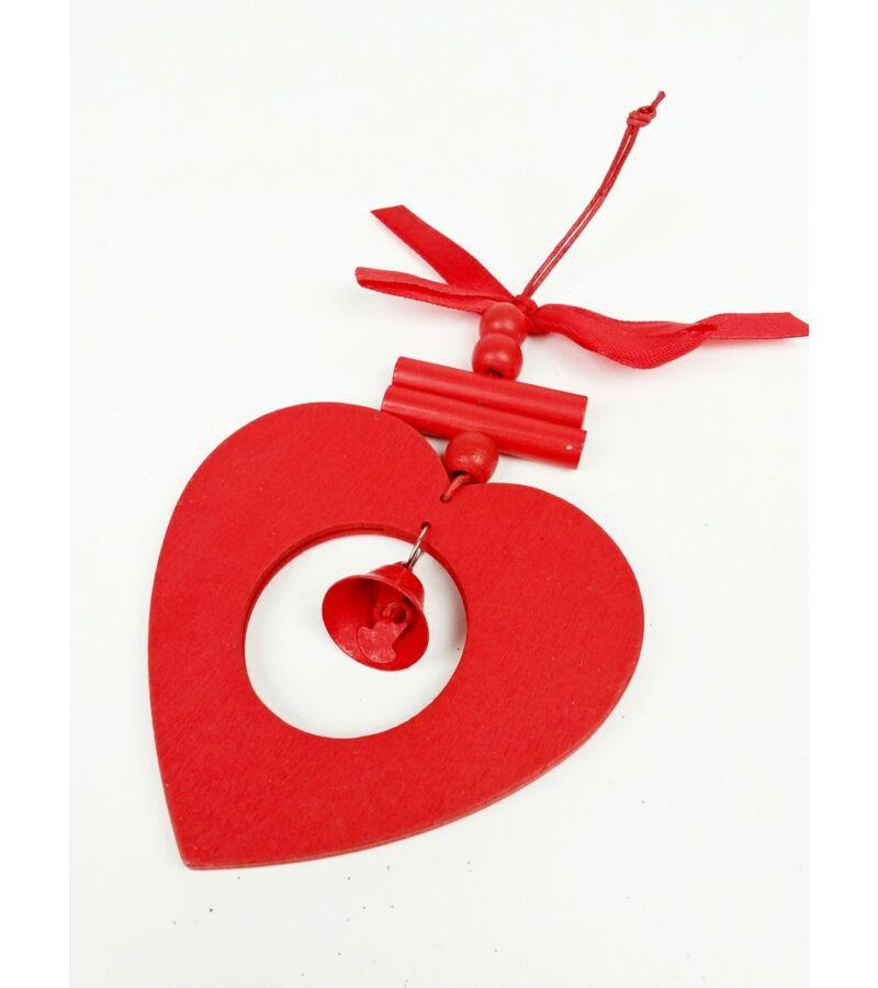 Piros akasztós fa dísz csengővel - Szív