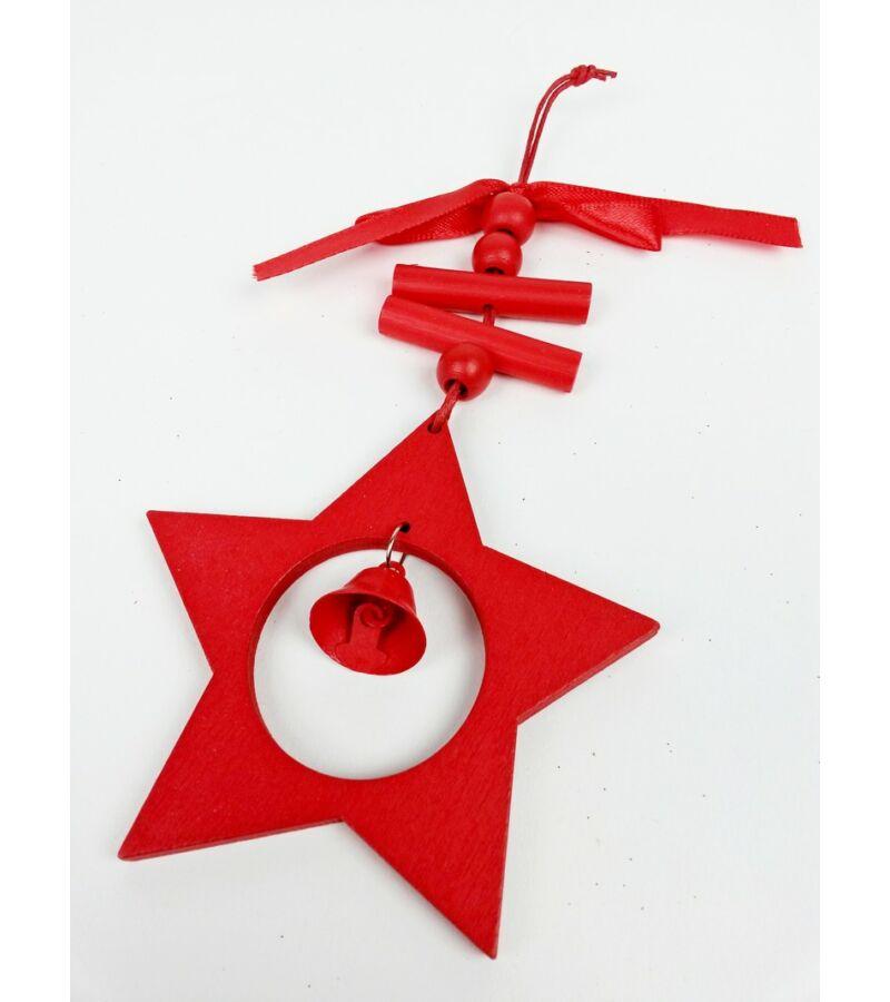 Piros akasztós fa dísz csengővel - Csillag
