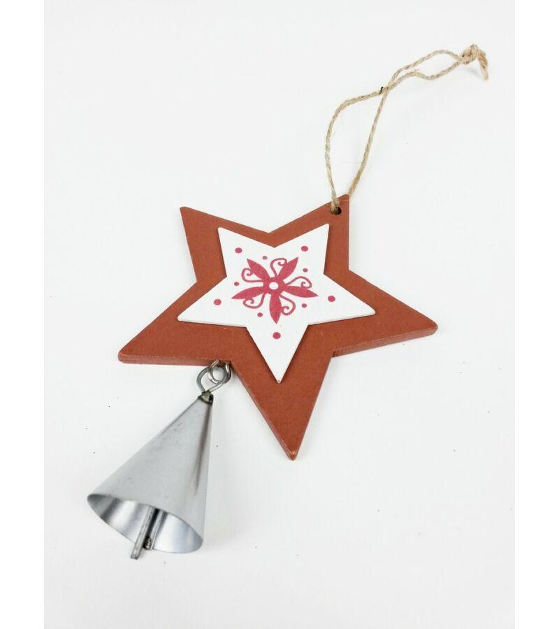 Fa dekor függő csengővel jégvirágos - Csillag