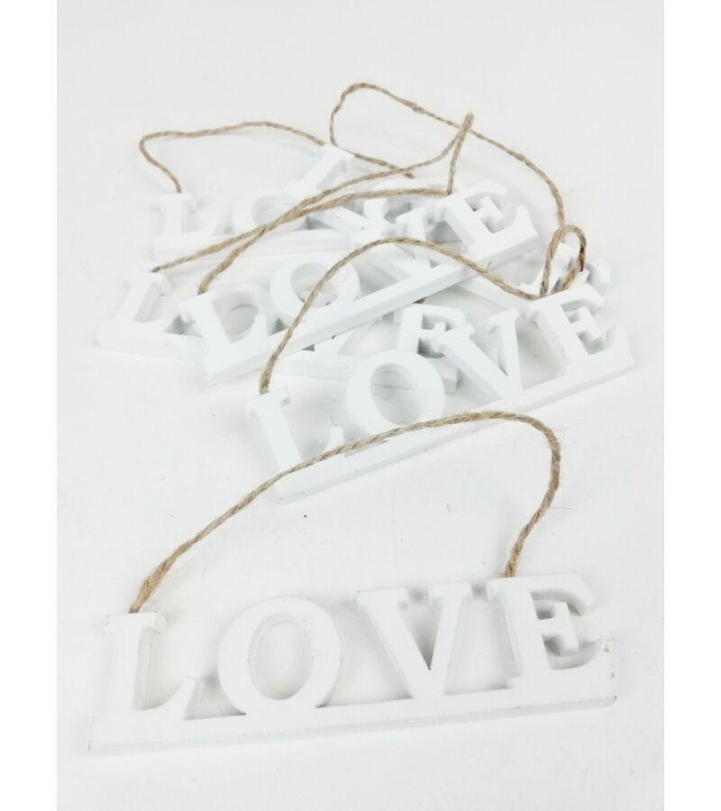 Akasztós LOVE felirat*6 - Fehér