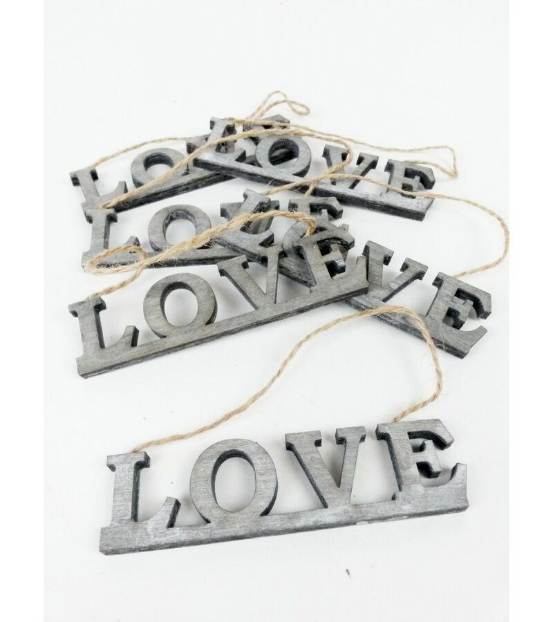 Akasztós LOVE felirat*6 - Szürke