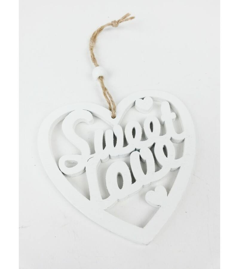 Sweet Love akasztós szív - Fehér