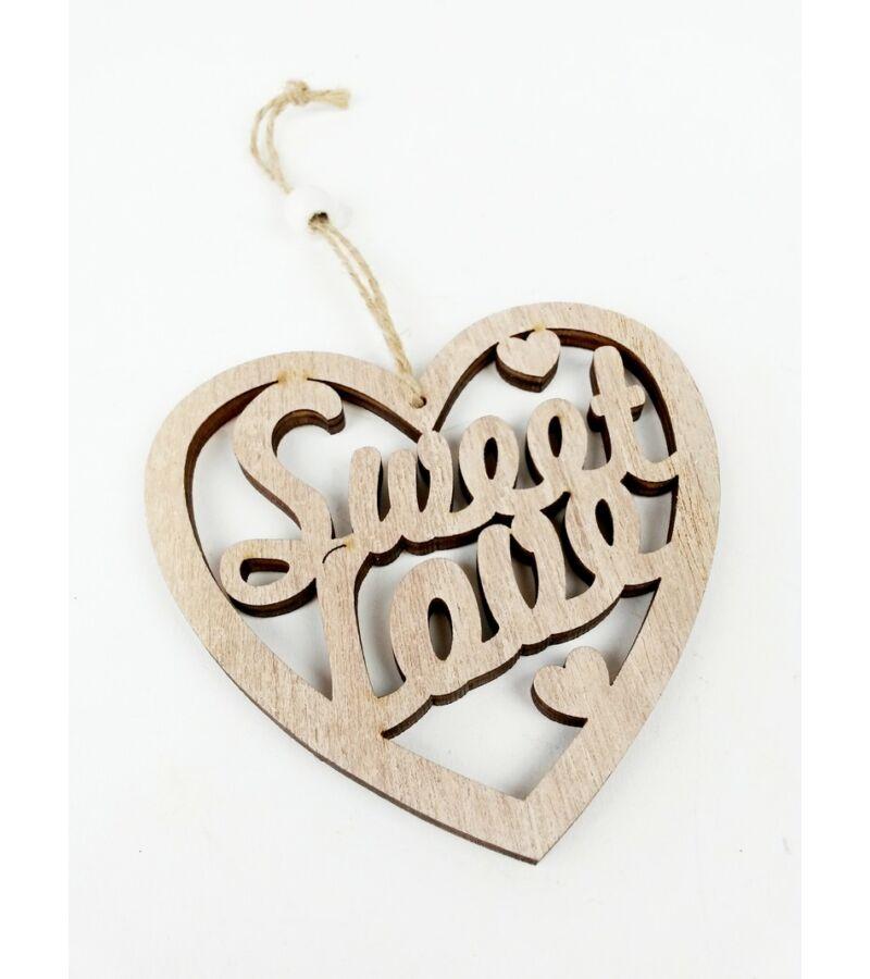 Sweet Love akasztós szív - Natúr