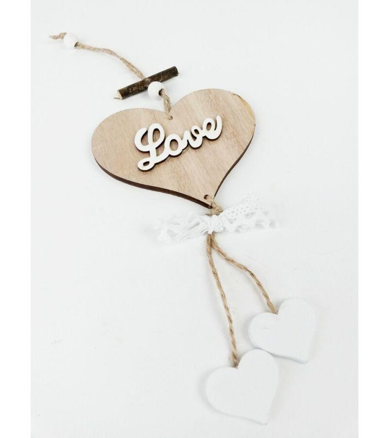 Szív függő Love csipkével - Natúr