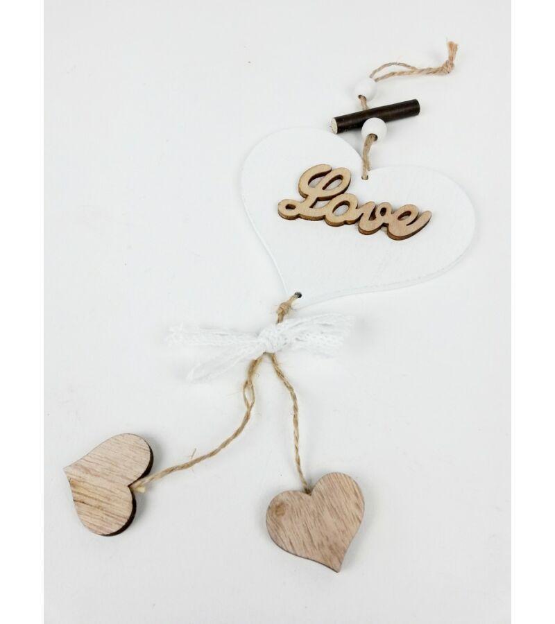 Szív függő Love csipkével - Fehér