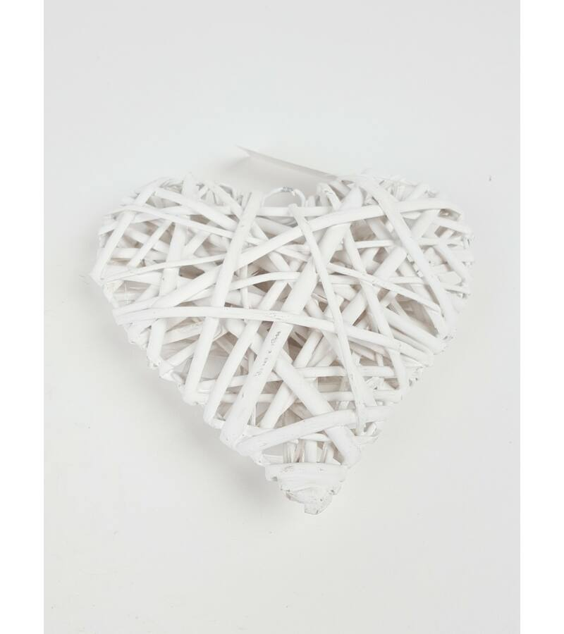 Rattan szív 15cm - FEHÉR