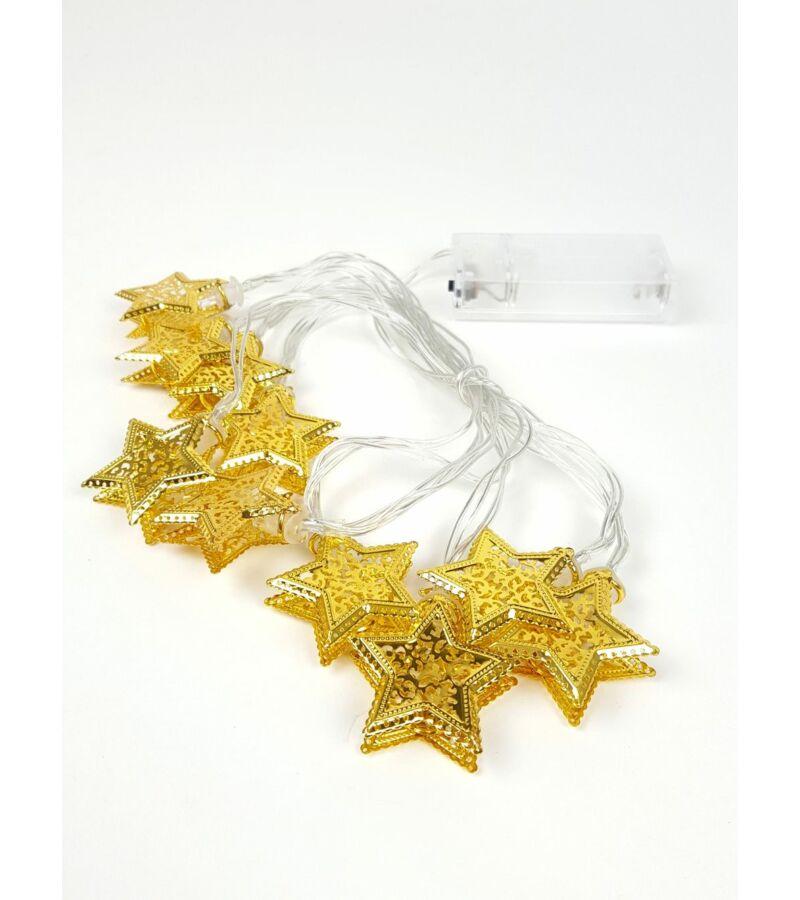 Fém LED girland - Arany duplás csillag