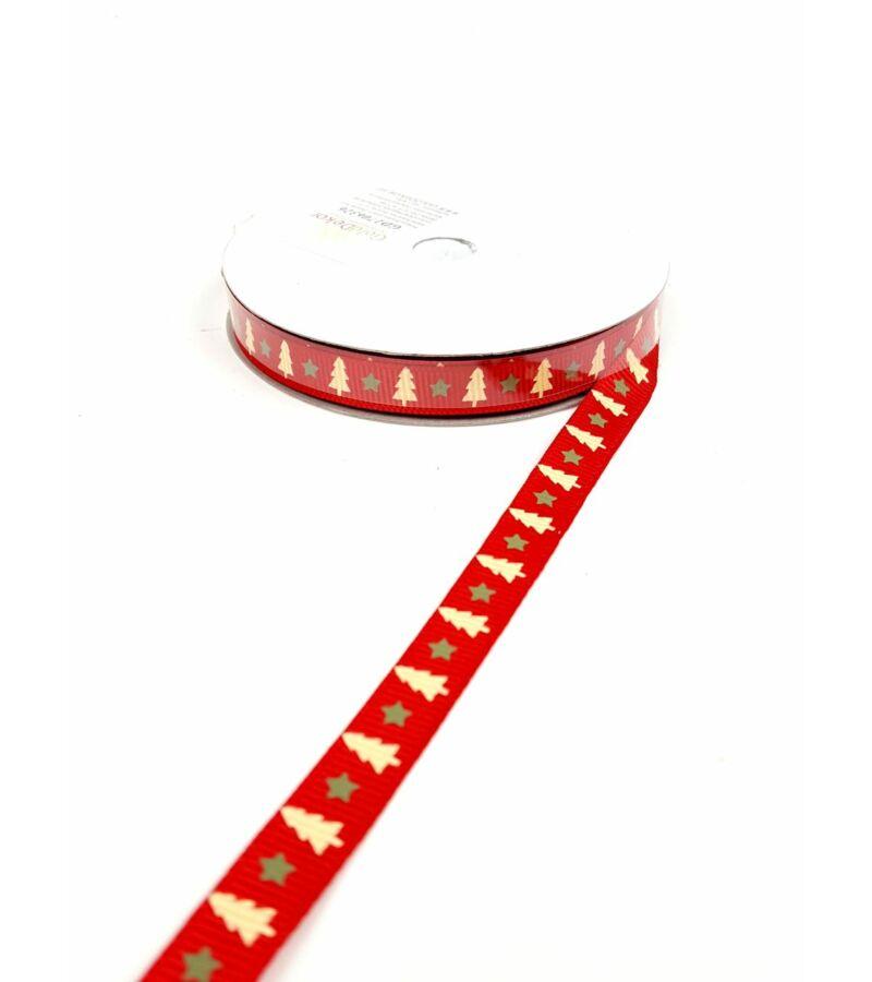 Karácsonyi szalag 1 cm - Piros fenyős