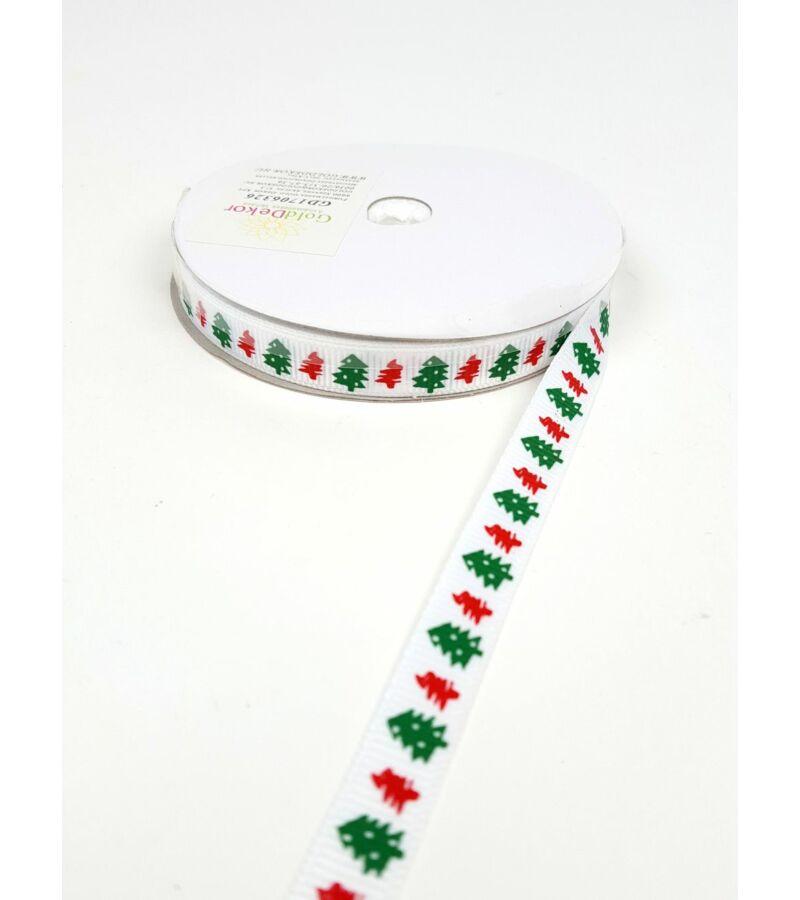 Karácsonyi szalag 1 cm - Fehér fenyős