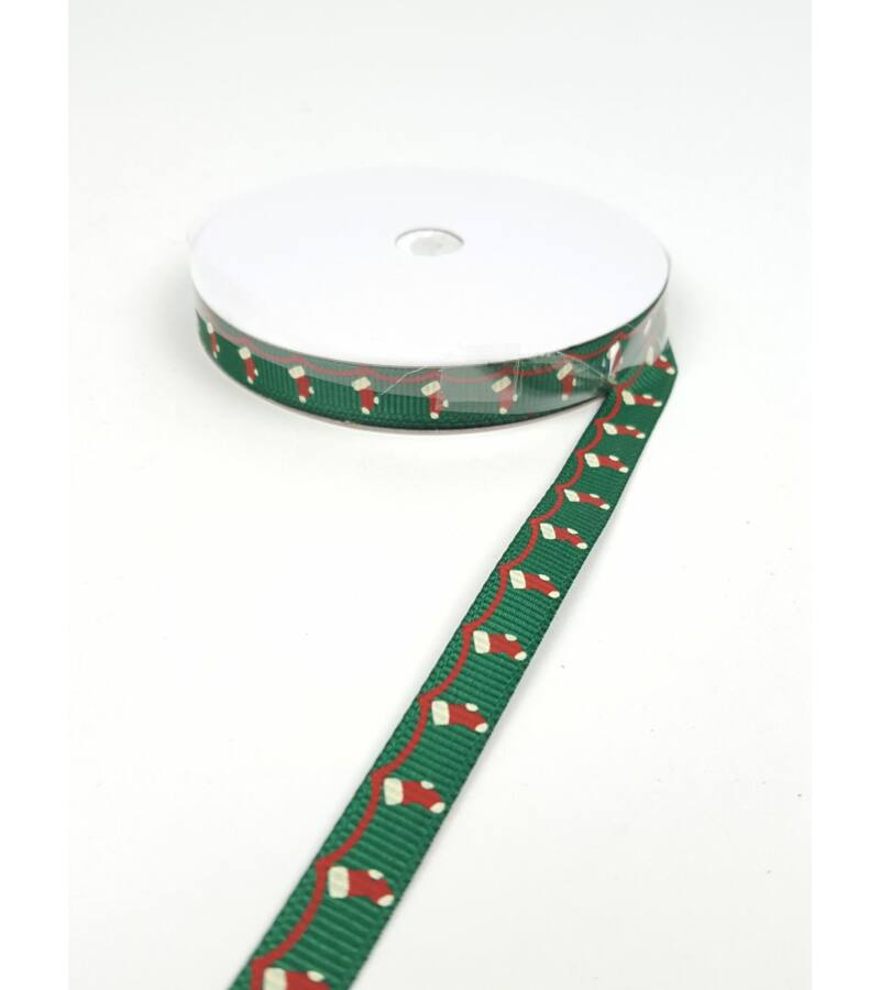 Karácsonyi szalag 1 cm - Zoknis
