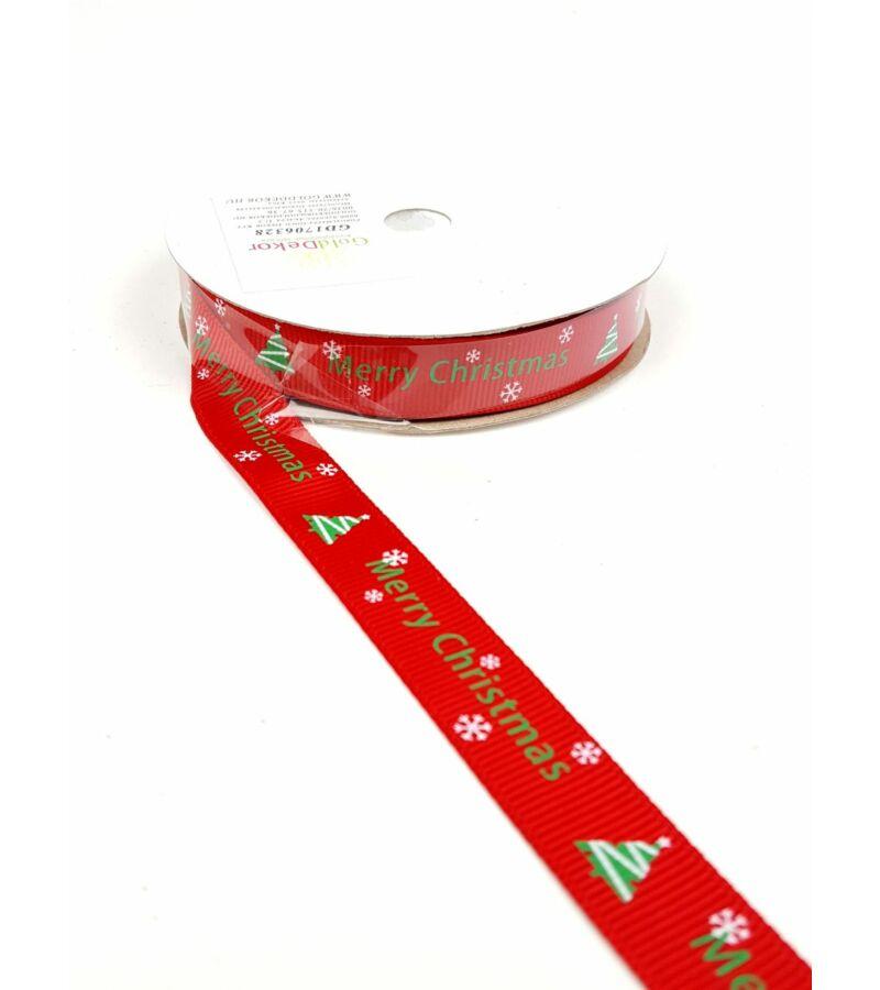 Karácsonyi szalag 1,5 cm - Merry Christmas piros