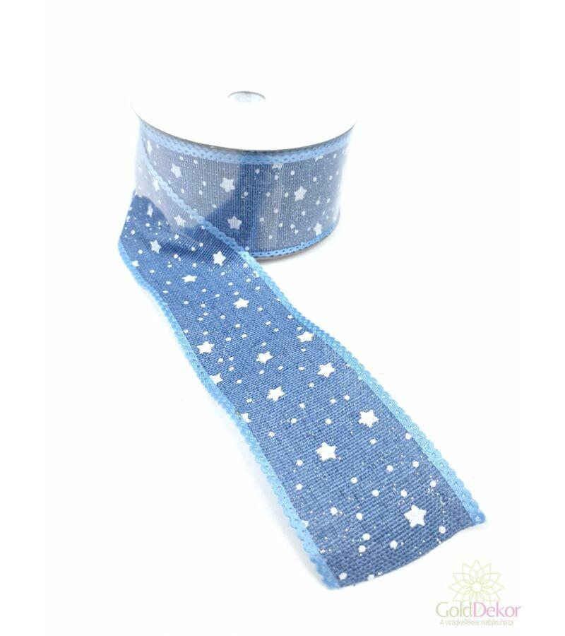 Karácsonyi szalag apró csillagos - Kék