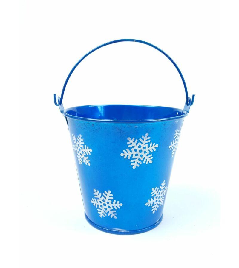 Hópelyhes metál bádog vödör - Kék