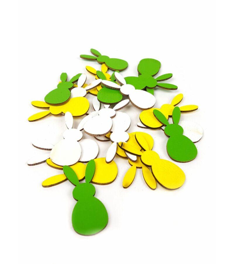 Fehér-Sárga-Zöld apró fa nyuszi