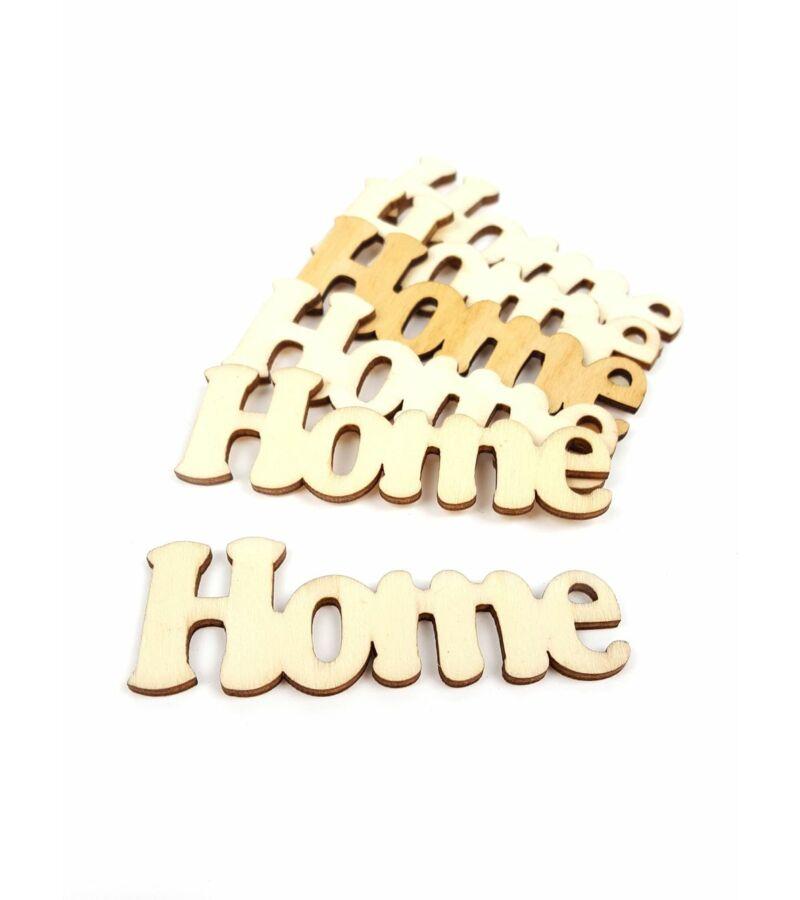 Fa dekor rajzos Home felirat - Natúr