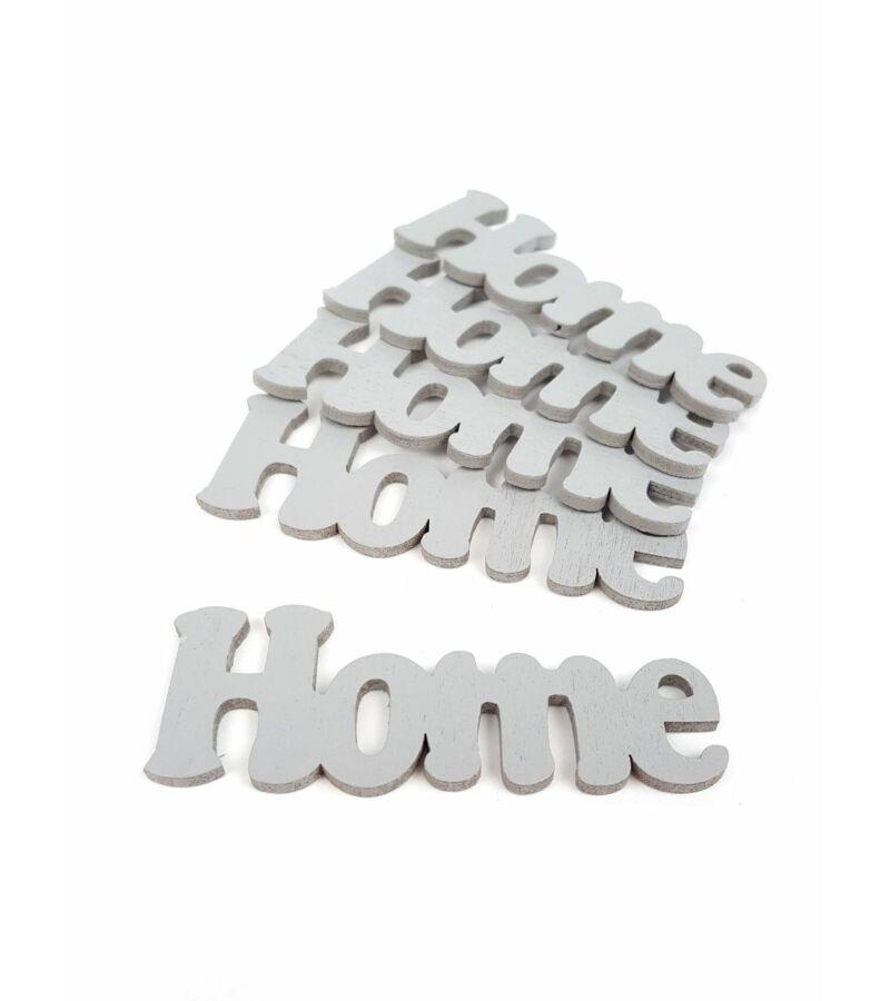 Fa dekor rajzos Home felirat - Szürke