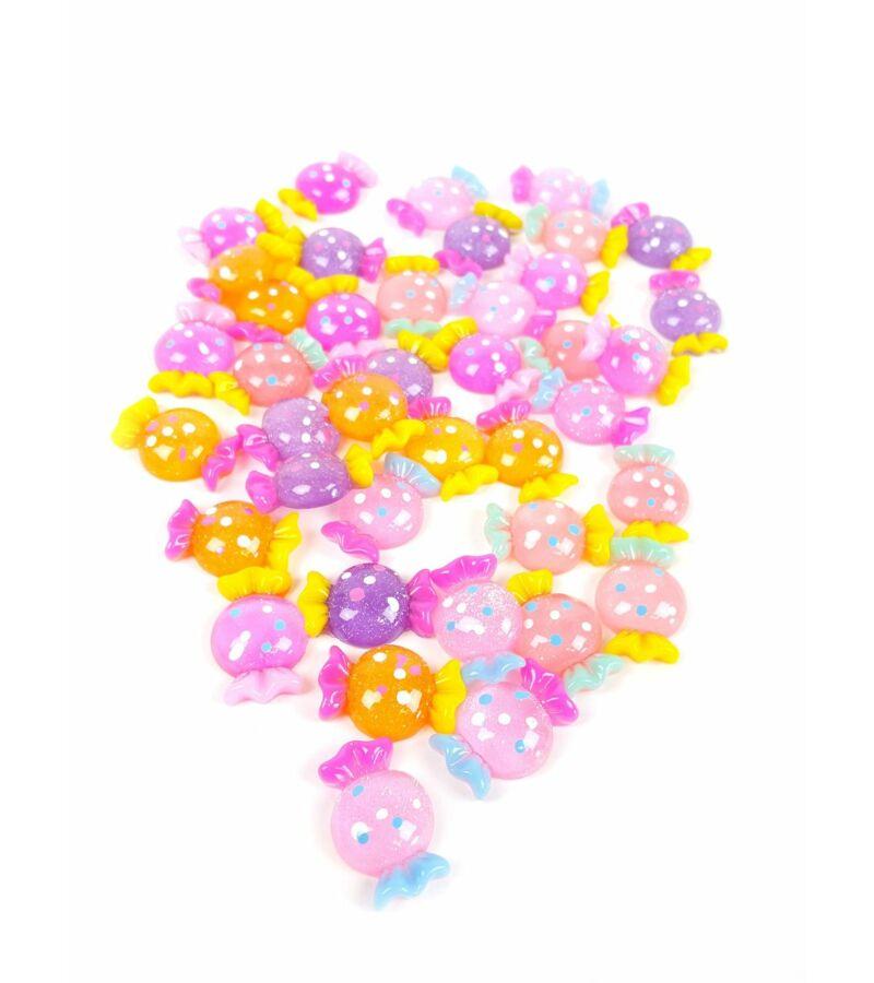 Műanyag dekor - Kerek csillámos cukor