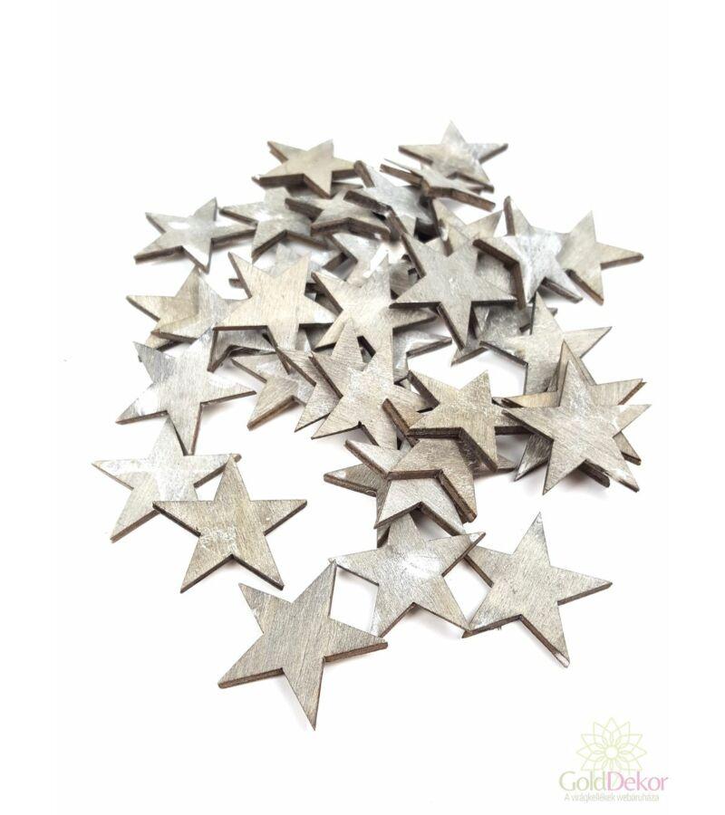 Fa dekor nyírfa csillag 3 cm - szürke