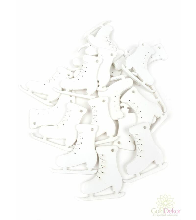 Fa dekor korcsolya - fehér