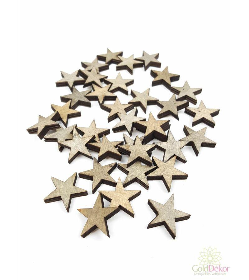 Fa dekor apró csillag - Sötét Szürke