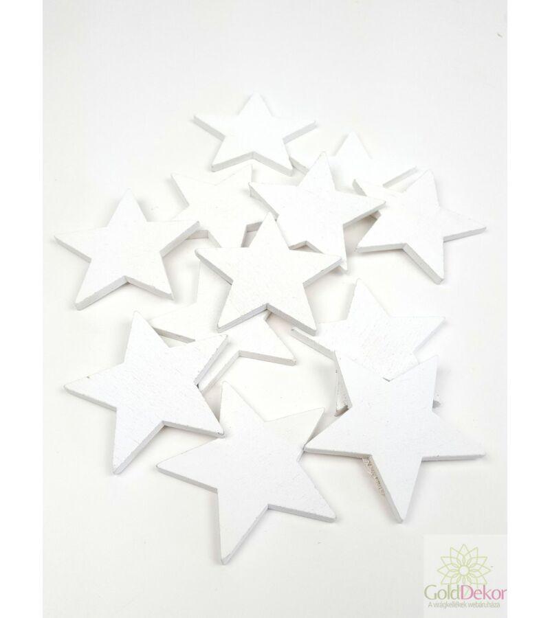 Fa dekor teli csillag - Fehér