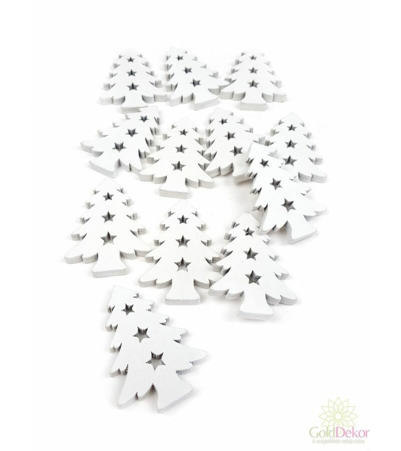 Fa dekor csillag közepű fenyőfa - Fehér