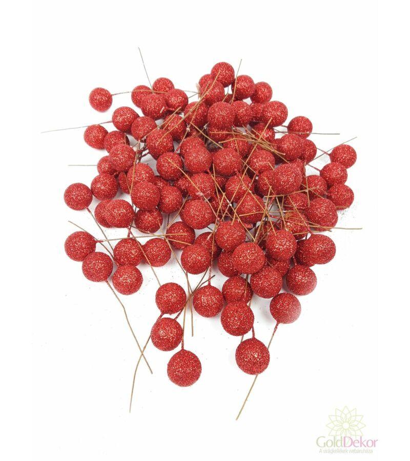 Glitteres drótos bogyó - Piros