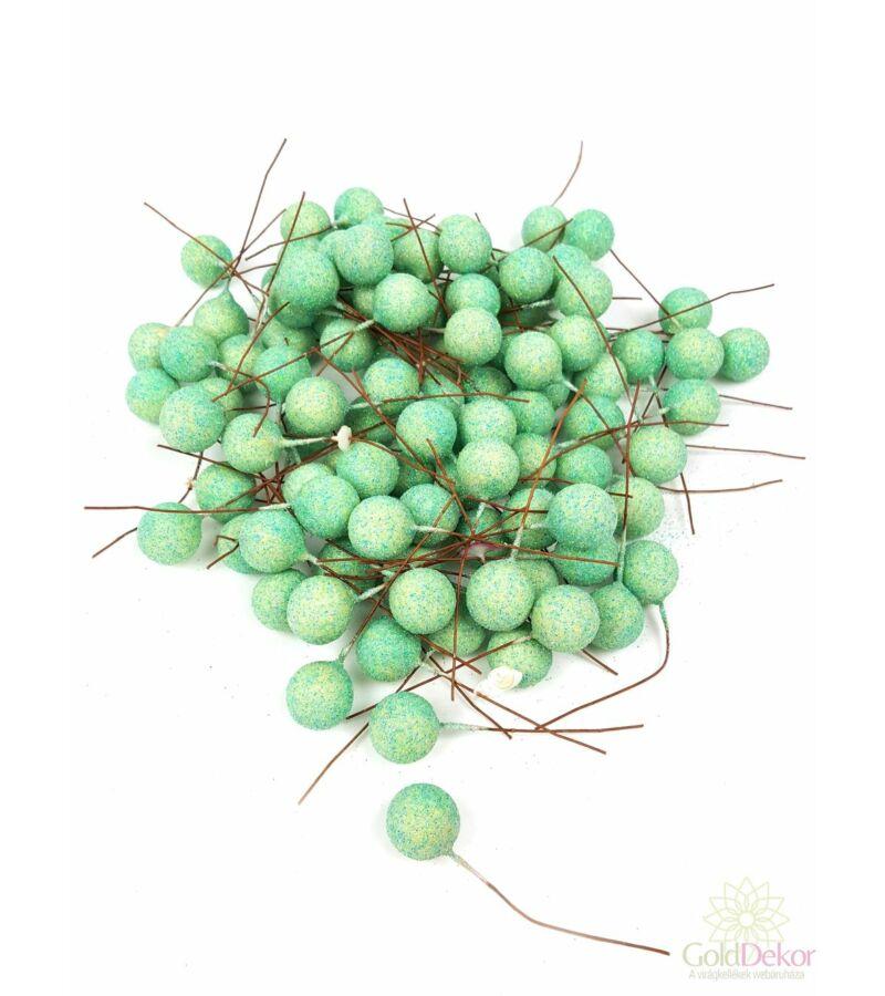 Glitteres drótos bogyó - Közép Zöld