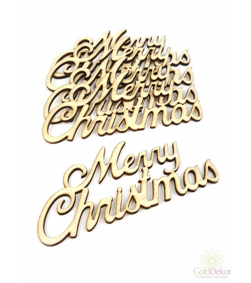 Fa felírat kicsi MERRY CHRISTMAS - Natúr