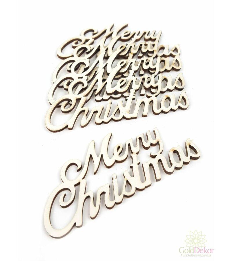 Fa felírat kicsi MERRY CHRISTMAS - Fehér