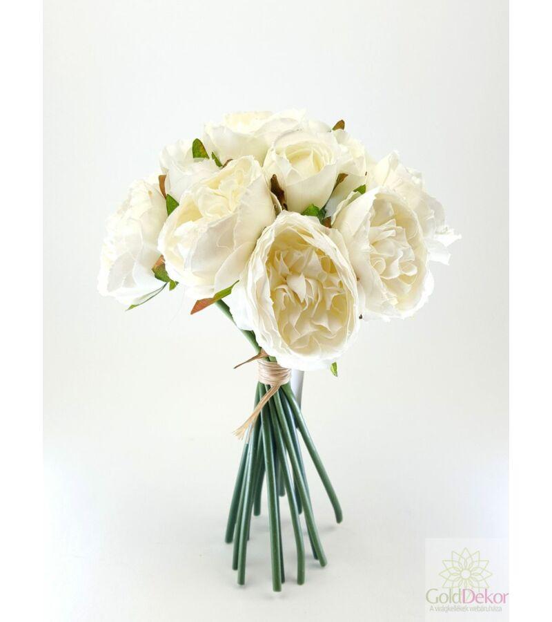 Telt virágú peonia dekor csokor - Fehér