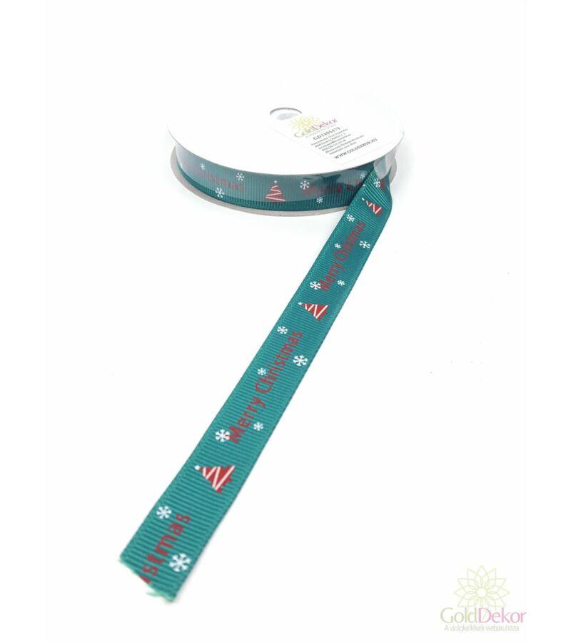 Karácsonyi szalag 1,5 cm - Merry Christmas zöld