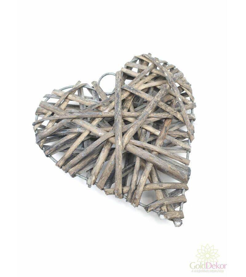 Rattan szív 15cm - Szürke