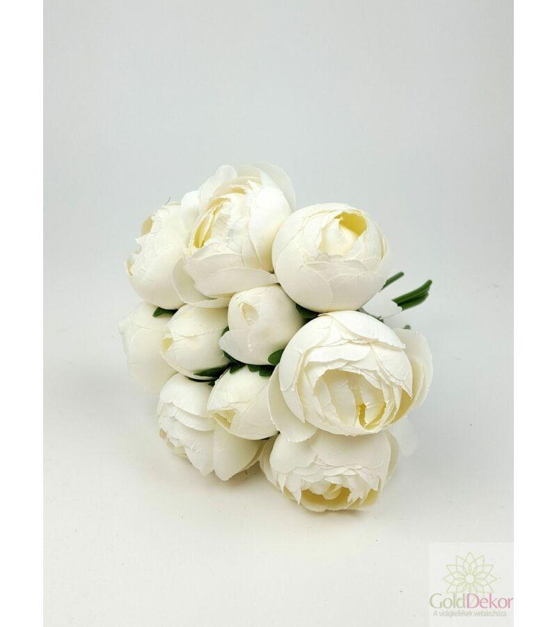 Gömb pasztel paeonia csokor kicsi - Fehér